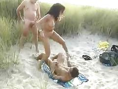 Sexy Euro Arab Babe Has Awesome Threesome On The Beach