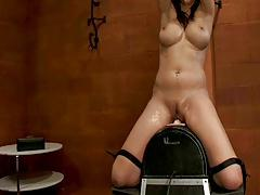 Hot Girl Tied Made to Squirt on Sybian