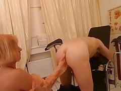 Assplay-Strapon Nurse gives him a Rectal Exam