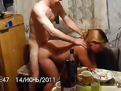 Russian couple fuck at kitchen