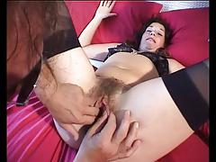eating a very hairy mature pussy