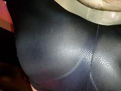 leggins lapdancing over my cock and her pantyhose
