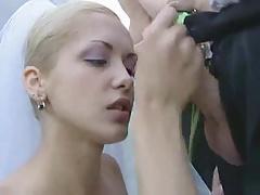 Horny bride sucks off wedding party