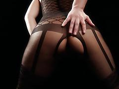 asian mature solo black bodystocking tease
