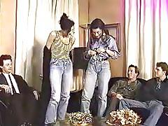 euro orgy with two sluts in jeans