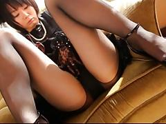 Asian pantyhose tease with bondage