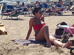 Busty milf in red bikini