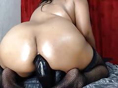 Huge black anal toy ride by this big gape ass lady