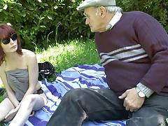 Old Men fucking young slut in a meadow