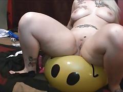 she grinds her butt holes on beach ball