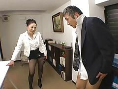 Japanese Boss fucks her employee so hard at office - RTS