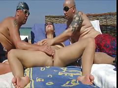 Nude Beach - Big Boob Pierced Mature - MMF Threesome Play