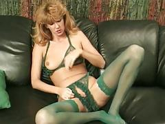 Green Classic green crotchless panties