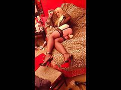 Ladyboy giant dildo and high heels