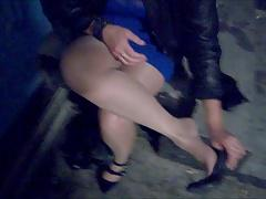 Flashing stockings and sexy panties in public