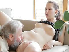 Horny old man fucks son's girlfriend