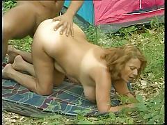 Redhead Granny Mathilda Takes His Cock Camping