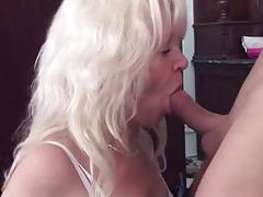 Old mom with small tits & guy