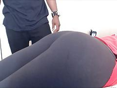 Spanking her ass with a vibrator