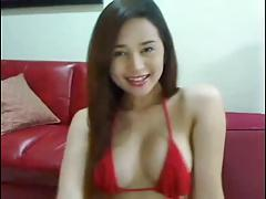 gorgeous asian tranny masturbates and shoots a huge load