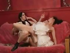 Smoking Lesbian Strap on Sex