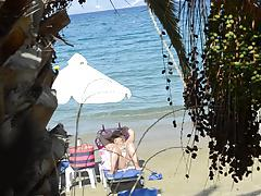 Open legs bikini mature