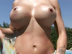 Blondie italian pornstar strip poolside