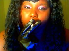 mz t in leather gloves smoking
