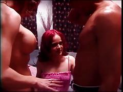 Hot midget girl with naughty thoughts sucks and fucks hard in 3some