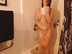 Hot Brunette Toys In Shower On Cam