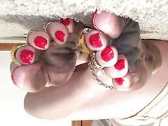 Shayna's Dirty Feet and Long Red Toenails