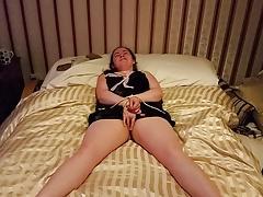 tied up wanking slut