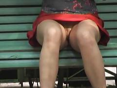 no panties on a bench