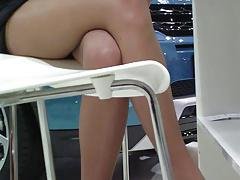 Redhead at carshow in pantyhose