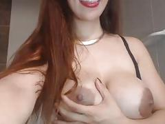 Big lactating tits, dark nipples on hottie