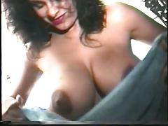 Solo shower scene ends with big breasted lesbian strapon fucking