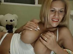 Milf with big natural pair teases