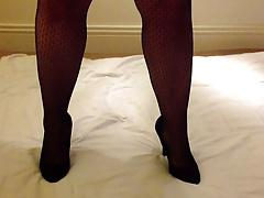 Louise Nylon stroking her pantyhose in gloves