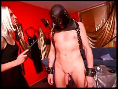 Two dominatrix and male sub