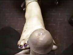 Amateur Marcella, Footjob at work