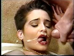Hot brunette in lingerie gets fucked in her asshole with big dick and dildo