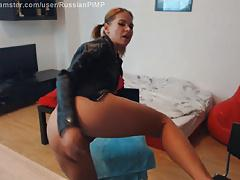 Russian Fetish Whore in leather fucks her ass
