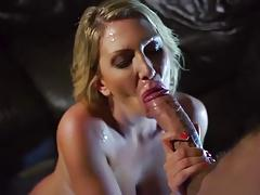 Leigh Darby gets facial cum sprayed by monster cock