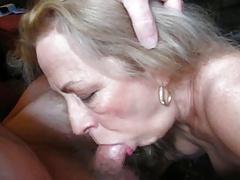 Blonde granny sucks coock her husband