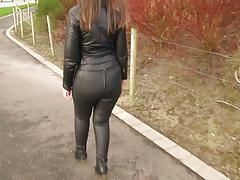 Leather Eva out for a stroll in my new leather leggings 2