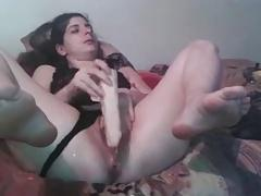 Horny Bitch Fucks Her Pussy With A Big Dildo