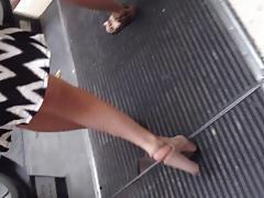 Upskirt heels candid