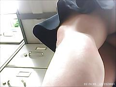 Upskirt - young MILF with round ass in black panties