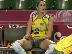 CLOSE UP SHOTS AT THE GREAT BRAZILLIAN  SEXY VOLLEYBALL TEAM