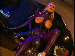 Busty Blond Latex Anal Sex on Car